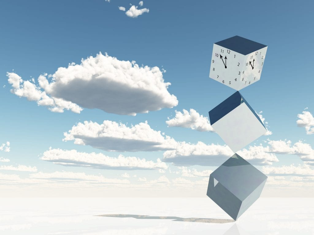 square clock falling down on the blue sky