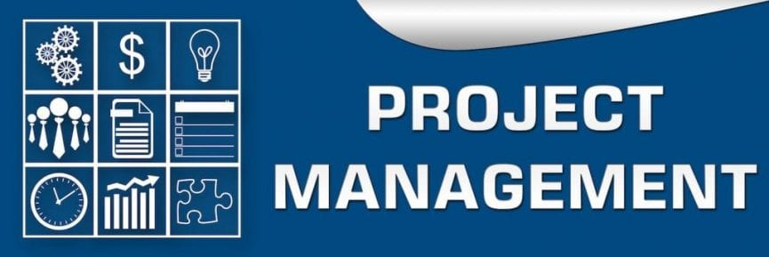 blue background with a word project management on it