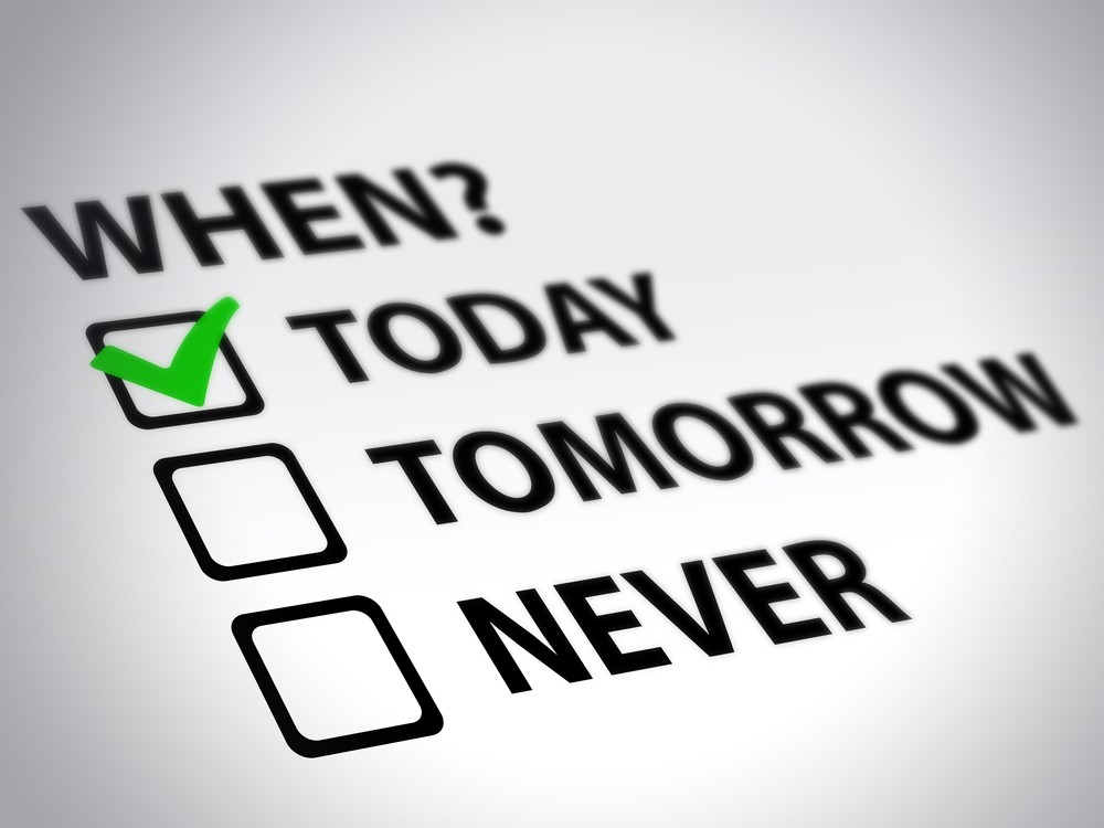 Check boxes today tomorrow never